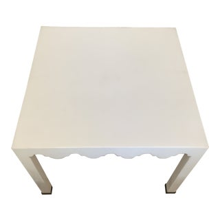 White Moroccan Style Lacquered Seagrass Square Accent Table For Sale