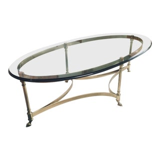 1970s Hollywood Regency LaBarge Glass and Brass Coffee Table For Sale