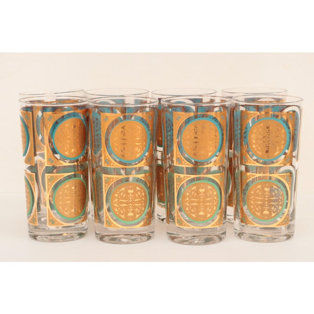 Mid 20th Century Mid-Century Gold and Aqua Highballs - Set of 8 For Sale - Image 5 of 5