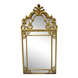 Antique French Louis XV Rococo Style Gold Trumeau Console Wall Mirror For Sale