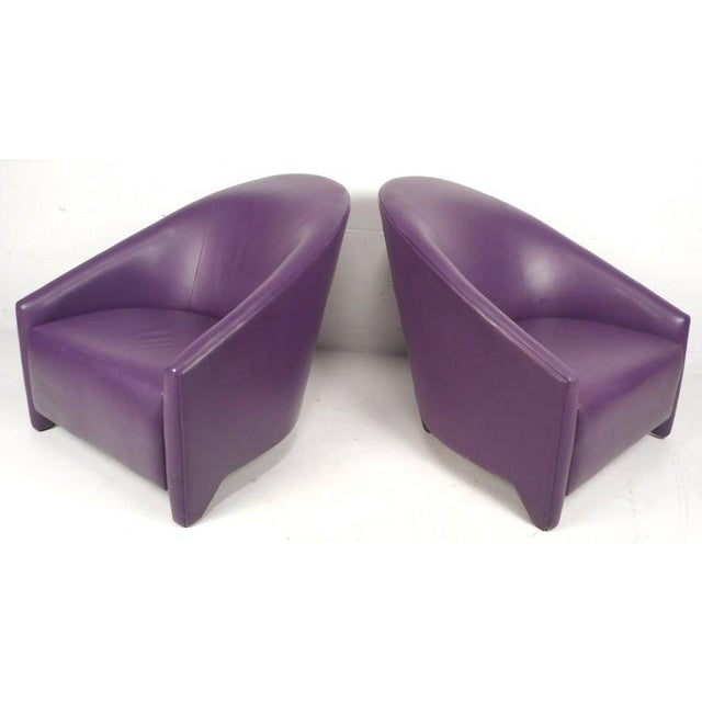 c82893ff8c1a7 Stunning pair of vintage modern vinyl lounge chairs feature an unusual  shape with wide seating ensuring. Mid-Century ...
