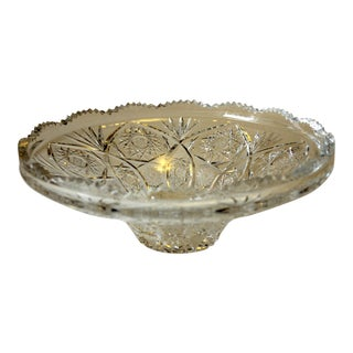 1930s Leaded Brilliant Cut Crystal Serving Bowl For Sale
