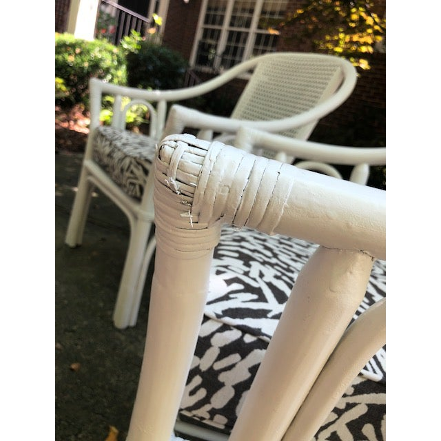 Vintage Mid Century White Rattan Arm Chairs- A Pair For Sale - Image 9 of 12