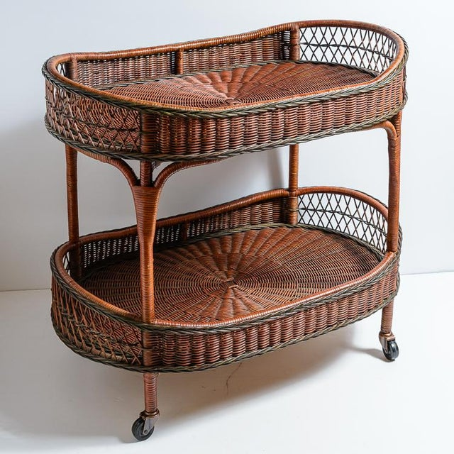 Vintage Large Woven Rattan Trolley/Bar-Cart. Belgium, C.1970 For Sale - Image 12 of 12