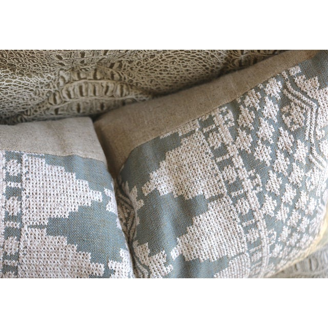 Boho Chic Dusty Blue Schumacher Embroidered Pillow Cover For Sale - Image 3 of 4