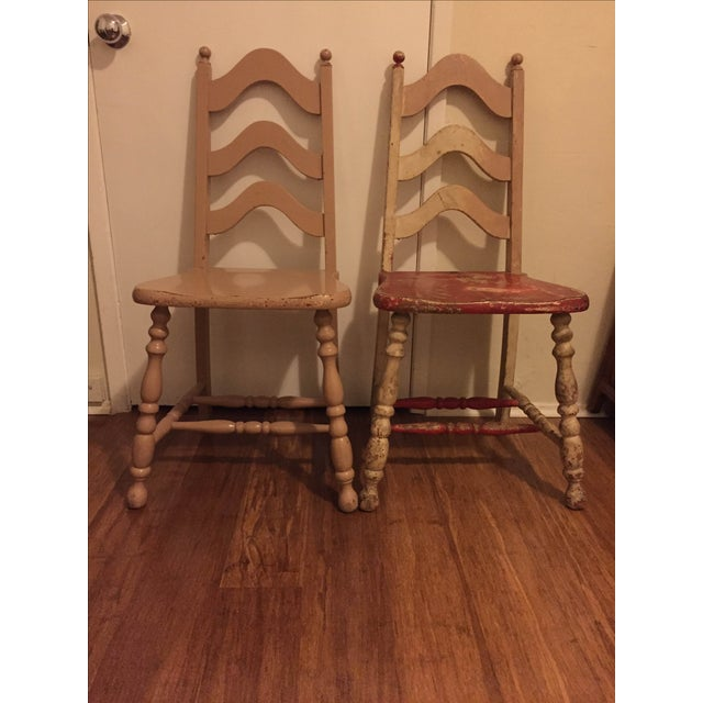 Vintage Shabby Chic Chairs - A Pair - Image 3 of 6