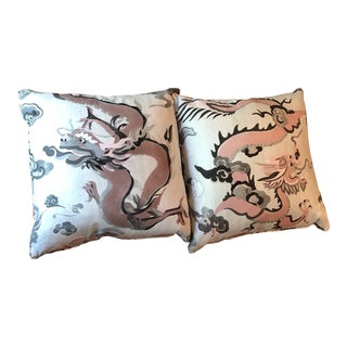 Asian Style Carleton Puff the Dragon Pink /Gray Pillows - a Pair For Sale