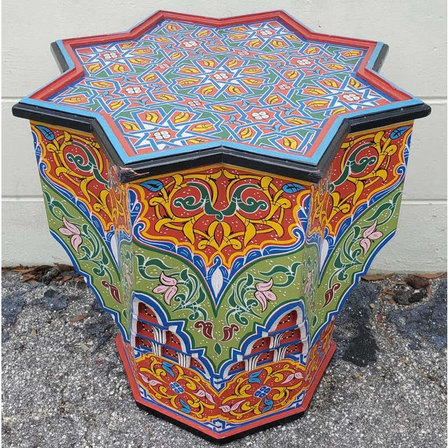 Wood Moroccan Lg Ceuta 4 Painted and Carved Star Table, Multi-Color For Sale - Image 7 of 8