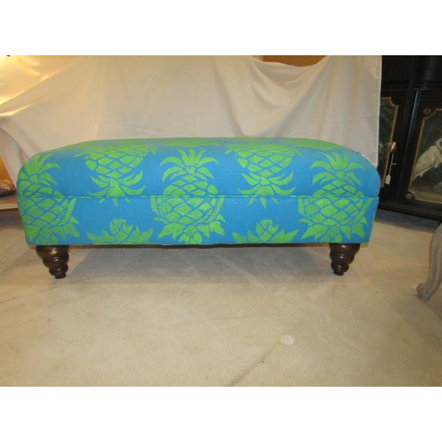 Large Turquoise Pineapple Print Ottoman - Image 2 of 5