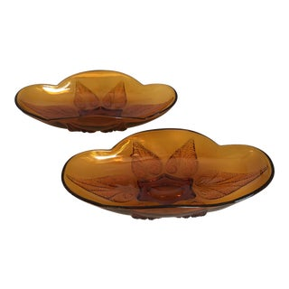 Vintage Amber Oval Decorative Footed Serving Bowls - a Pair