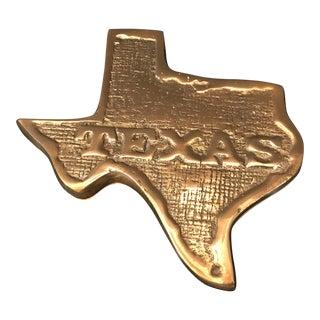 Vintage Texas Shaped Brass Trinket Box