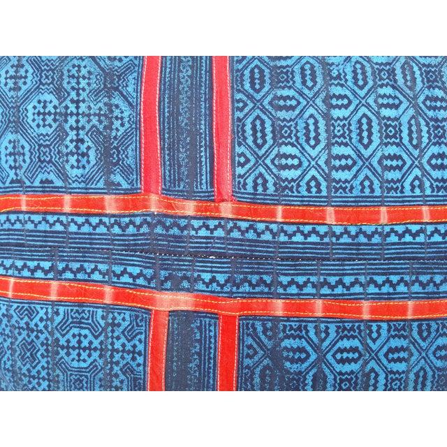 Blue & Red Tribal Appliqued Batik Pillow - Image 3 of 5