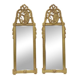 Pair 8 Ft. Monumental French Gilt Mirrors Signed Bruce F. Kunkel 2007 Distressed For Sale