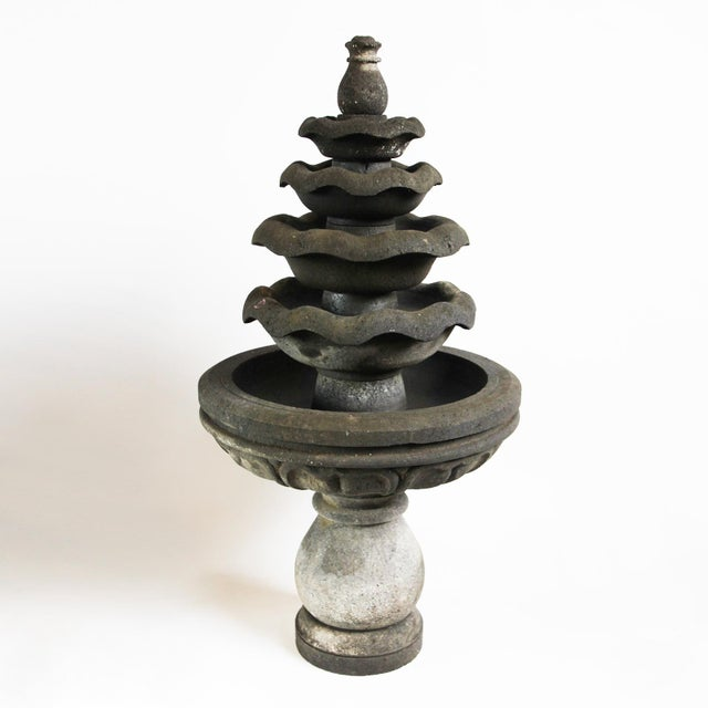 Balinese lava stone five bowl garden fountain. Easy to dismantle and re-stack.