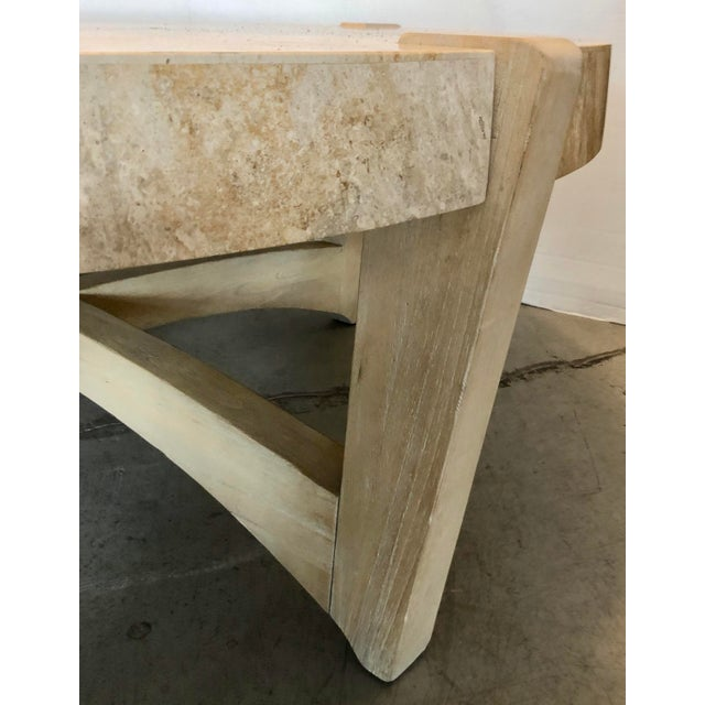 Kreiss Travertine & Wood Coffee Table For Sale - Image 4 of 6