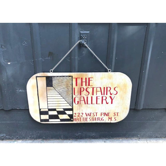 "1960s 1960s Wooden ""Upstairs Gallery"" Hanging Sign For Sale - Image 5 of 5"