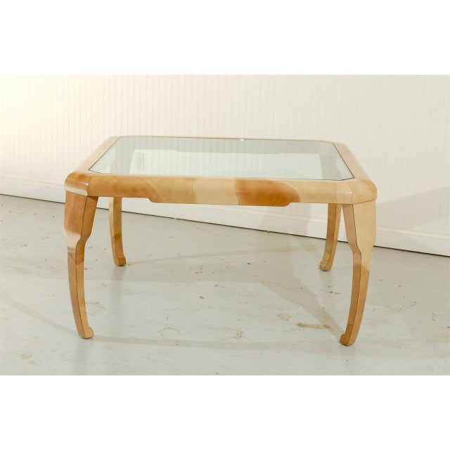 Rare Lacquered Faux Goatskin Dining or Game Table by Alessandro for Baker For Sale - Image 9 of 10