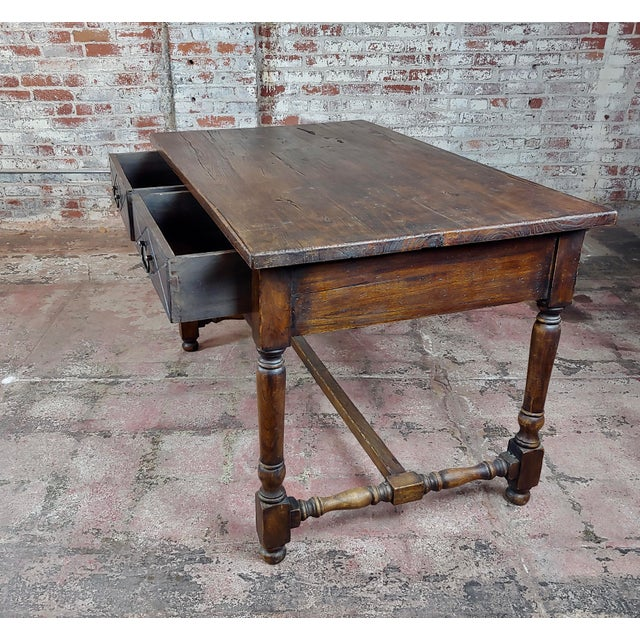 Wood Spanish Revival Two Drawer Writing / Dining Table For Sale - Image 7 of 10