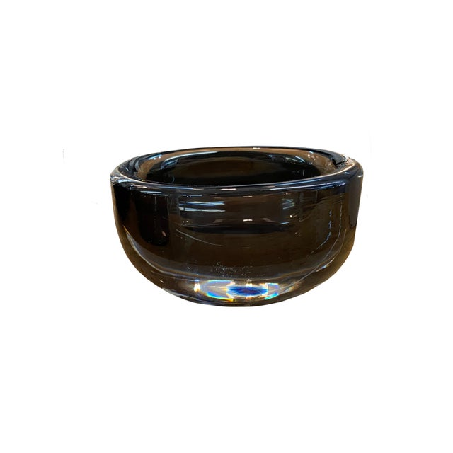 Orrefors Mid 20th Century Orrefors Small Smoked Glass Signed Bowl For Sale - Image 4 of 4