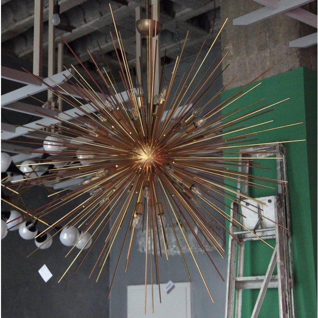 Monumental Brass Sputnik or Urchin Chandelier For Sale - Image 6 of 6