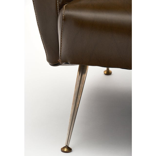 Vintage French Modernist Brown Vinyl Armchairs - a Pair For Sale - Image 9 of 10