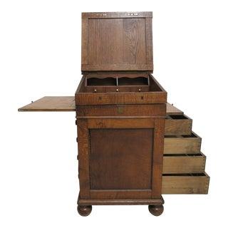 Antique Tiger Oak Davenport Ships Writing Desk Cabinet For Sale