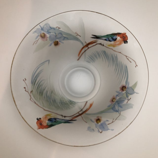 Blue Hand Painted Parrots and Floral Glass Decorative Bowl For Sale - Image 8 of 8