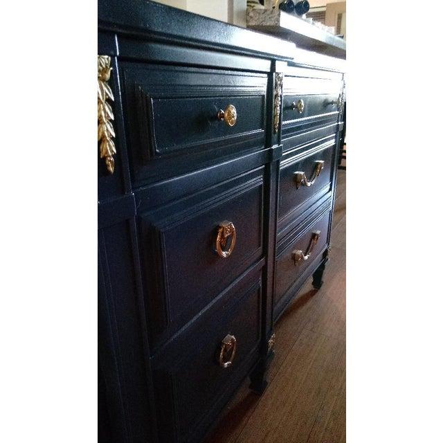 Drexel Drexel San Remo High Gloss Blue Nine Drawer Dresser Credenza For Sale - Image 4 of 7