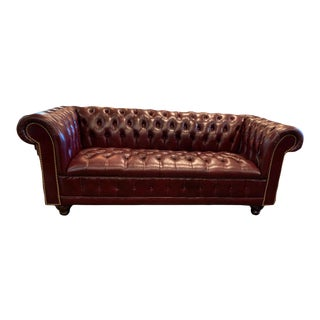 Vintage Mid-Century English Oxblood Leather Chesterfield Tufted Seat Sofa For Sale