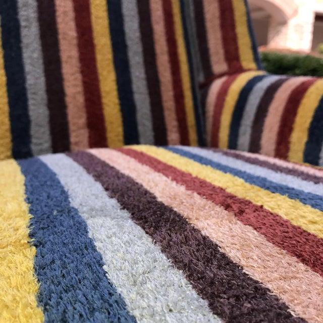 Mid-Century Modern Vintage Century Furniture Kravet Vespa Multi Color Stripe Club Chairs - a Pair For Sale - Image 3 of 13