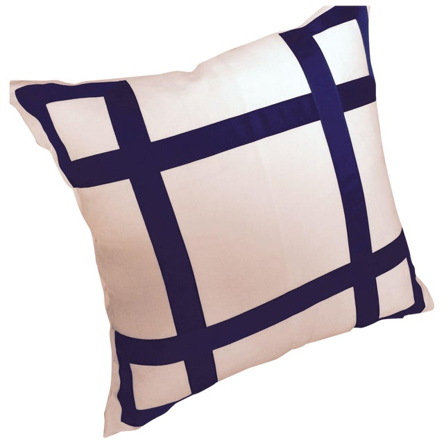 Navy Ribbon Pillow - A Pair - Image 1 of 4