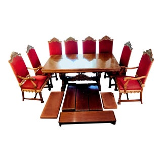 Carved Walnut 9 Piece Dining Room Set, Doezema (1929-1955) Jacobean Revival For Sale
