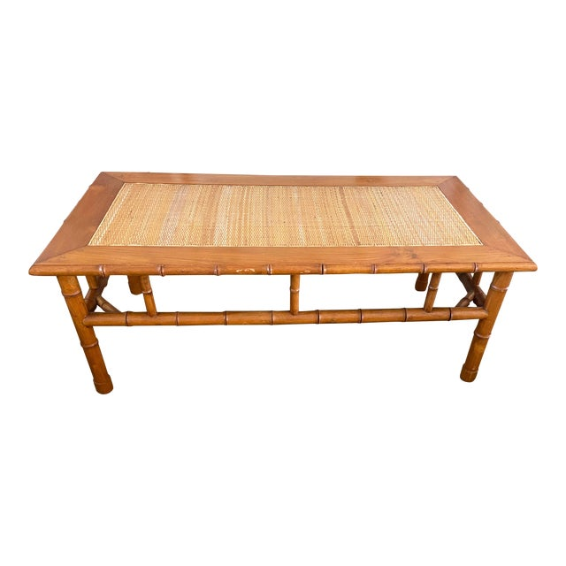 1970s Faux Bamboo and Ratan Coffee Table For Sale