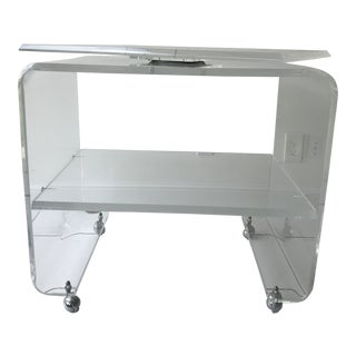 1980s Modern Heavy Lucite Swivel Tv Stand For Sale