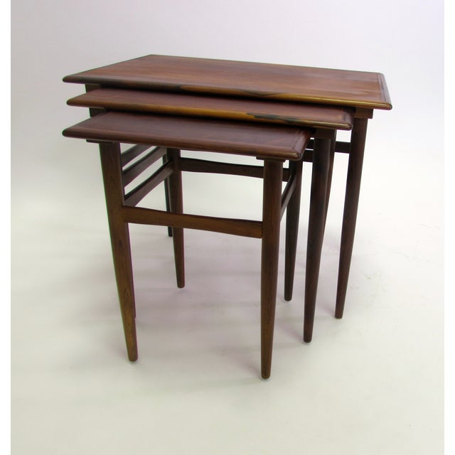 Danish Mid-Century Modern Rosewood Nesting Tables - Image 2 of 4