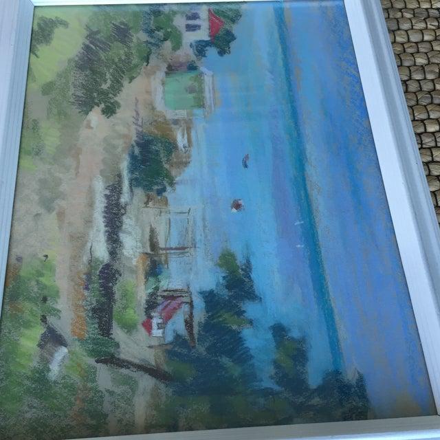 Original Oil Pastel Caribbean Coastal Seascape Framed Art For Sale In Charlotte - Image 6 of 11