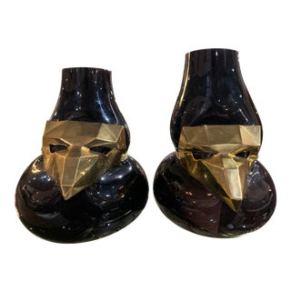 Vanessa Mitrani Vase Brass Metal Mask Vase With Mouth Blown Glass - a Pair For Sale