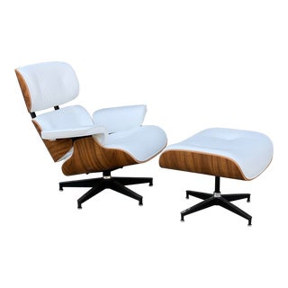 Modern Mid Century Lounger & Ottoman - White & Walnut For Sale