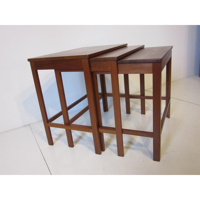 Mid 20th Century Peter Hvidt Teak Nesting Tables for France and Son Denmark - Set of 3 For Sale - Image 5 of 9