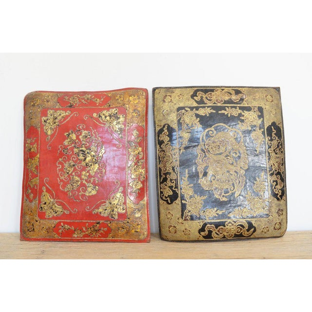 Chinese Embossed Leather Cushions For Sale - Image 11 of 11
