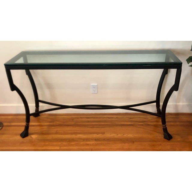 Kreiss Luxury Home Iron & Glass Palomino Console Table. Beveled glass top.