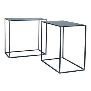 Filiforme' Patinated Steel Minimalist Side Tables by Design Frères - a Pair For Sale