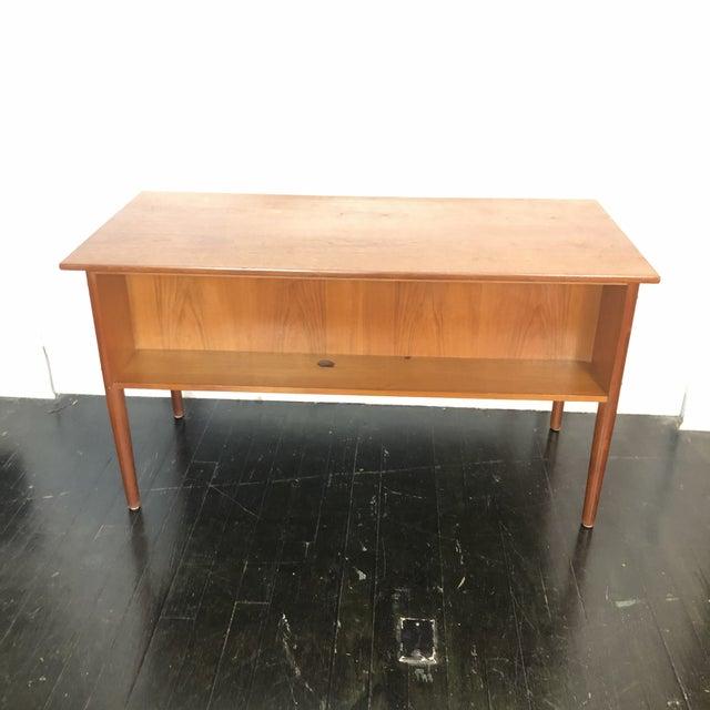 Wood 1970s Danish Teak Writing Desk For Sale - Image 7 of 13