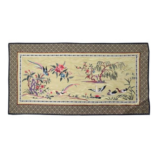Vintage Asian Silk Embroidered Cloth With Tropical Birds and Swans in Golden Lake For Sale