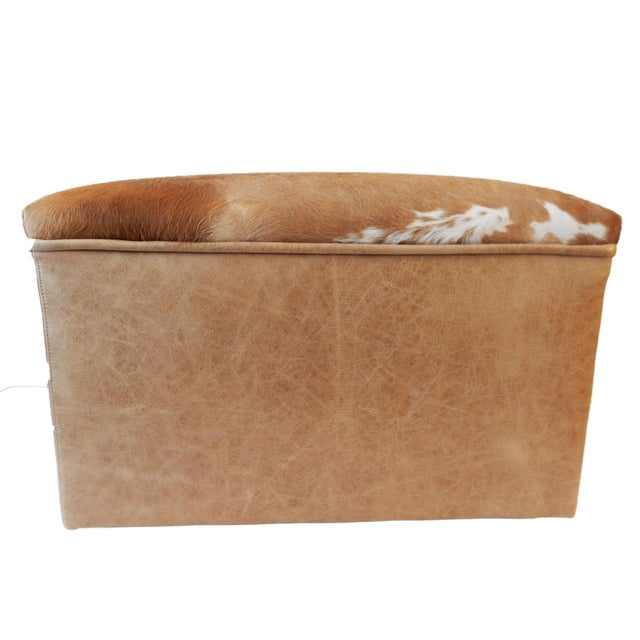 LG Cow Hide & Faux Leather Ottoman For Sale - Image 10 of 10