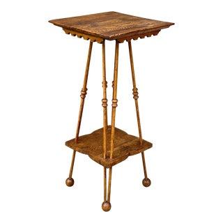 Antique Victorian Oak Plant Stand Parlor Side Table For Sale