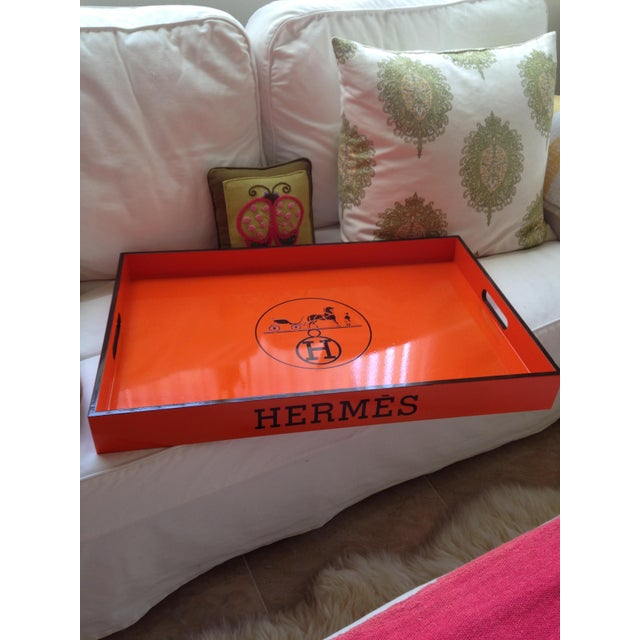 Vintage Hermes Inspired Orange & Brown Large Bar Tray - Image 4 of 5