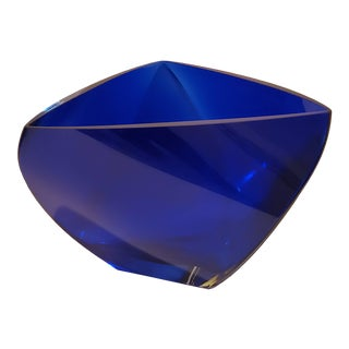 Deep Blue Triangle Crystal Bowl For Sale