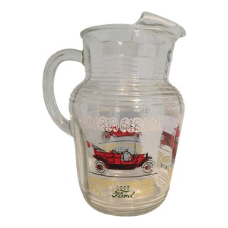 Vintage Hazel Atlas Cars Glass Pitcher