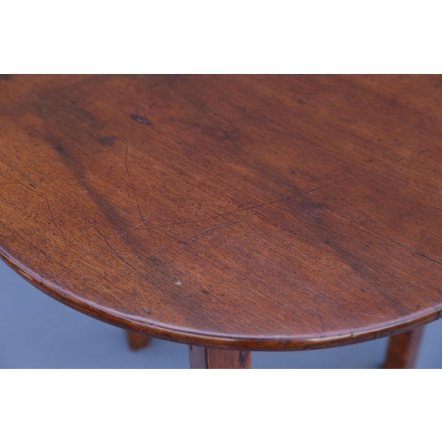 Wood Antique English Chestnut Cricket Table, One Board Top For Sale - Image 7 of 9